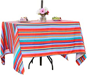 SquarePie Rectangle Outdoor Patio Tablecloth Stain Resistant Waterproof Oblong Table Linen Table Cover with Umbrella Hole and Zipper for Garden Party Tables Decor, 52x70 Color Stripe