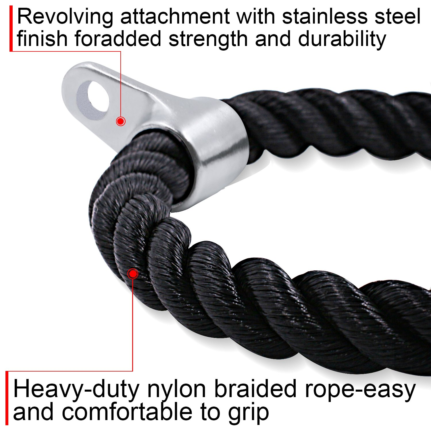 Amazon.com : Startostar Tricep Rope Dual Grip Non Slip V Shaped Pull ...