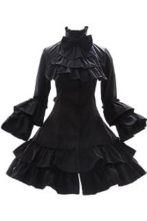 jl-662 Ruffle Bow Black Victorian Costume Gothic Lolita Dress Cosplay