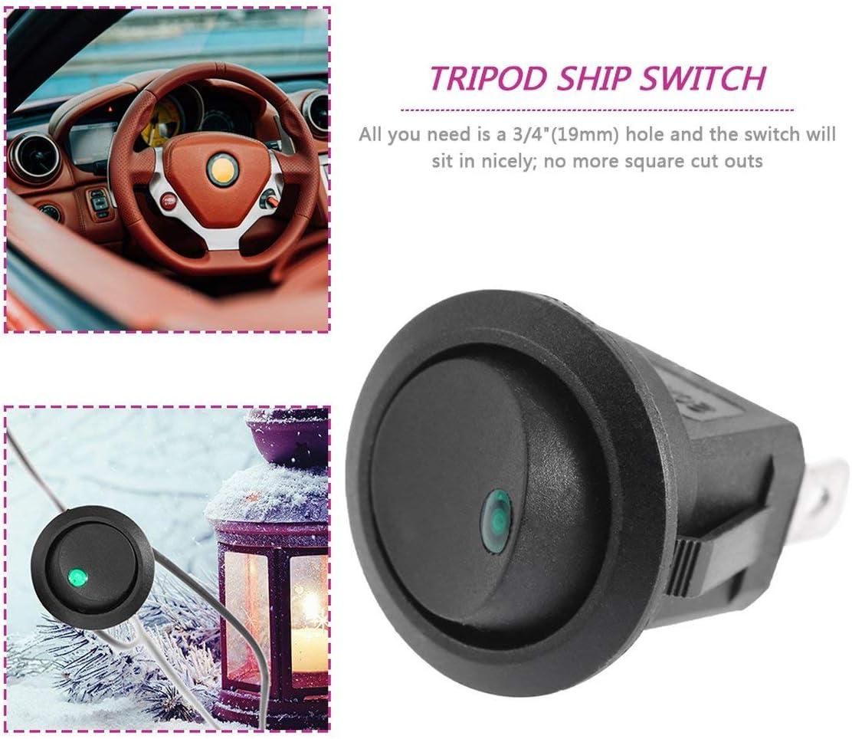 Led Dot Light 12V Car Auto Barco Round Rocker ON//Off Activar//desactivar el Interruptor SPST Cami/ón con una Ranura para Ojo de Cerradura para Evitar la rotaci/ón no deseada Paperllong/®