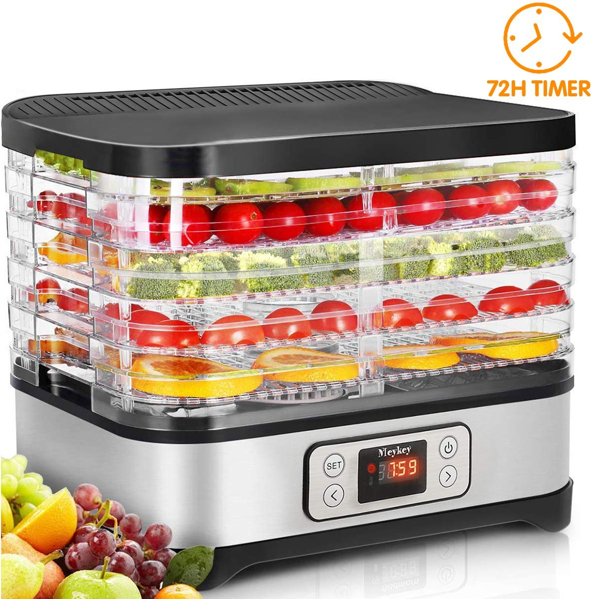 Food Dehydrator Machine, Digital Timer and Temperature Control, 5 Trays, for Jerky/Meat/Beef/Fruit/Vegetable, BPA Free by Homdox