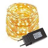 LE 10M 100 LEDs Kupferdraht LED Kupfer Lichterkette, Wasserdicht Sternen Lichterketten (warmweiss)