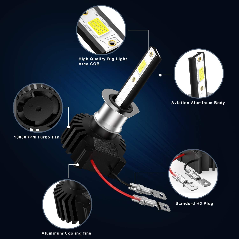 PULILANG H1 COB LED Headlights Bulbs Fog Lights Mini Size 60W 12000LM Headlights All-in-One Conversion Kit High Beam Low Beam 6000K White 12-24V IP65