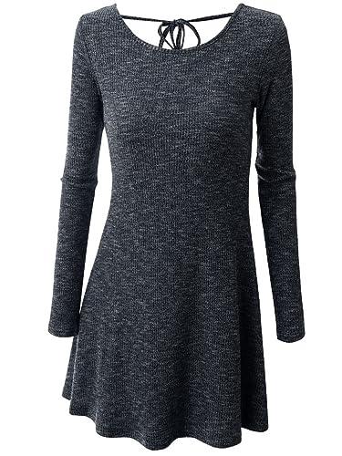 Oderola Mujer Alinear Vestido De Punto Pullover de Manga Larga Tops Suéter,Dobladillo Mini Vestido