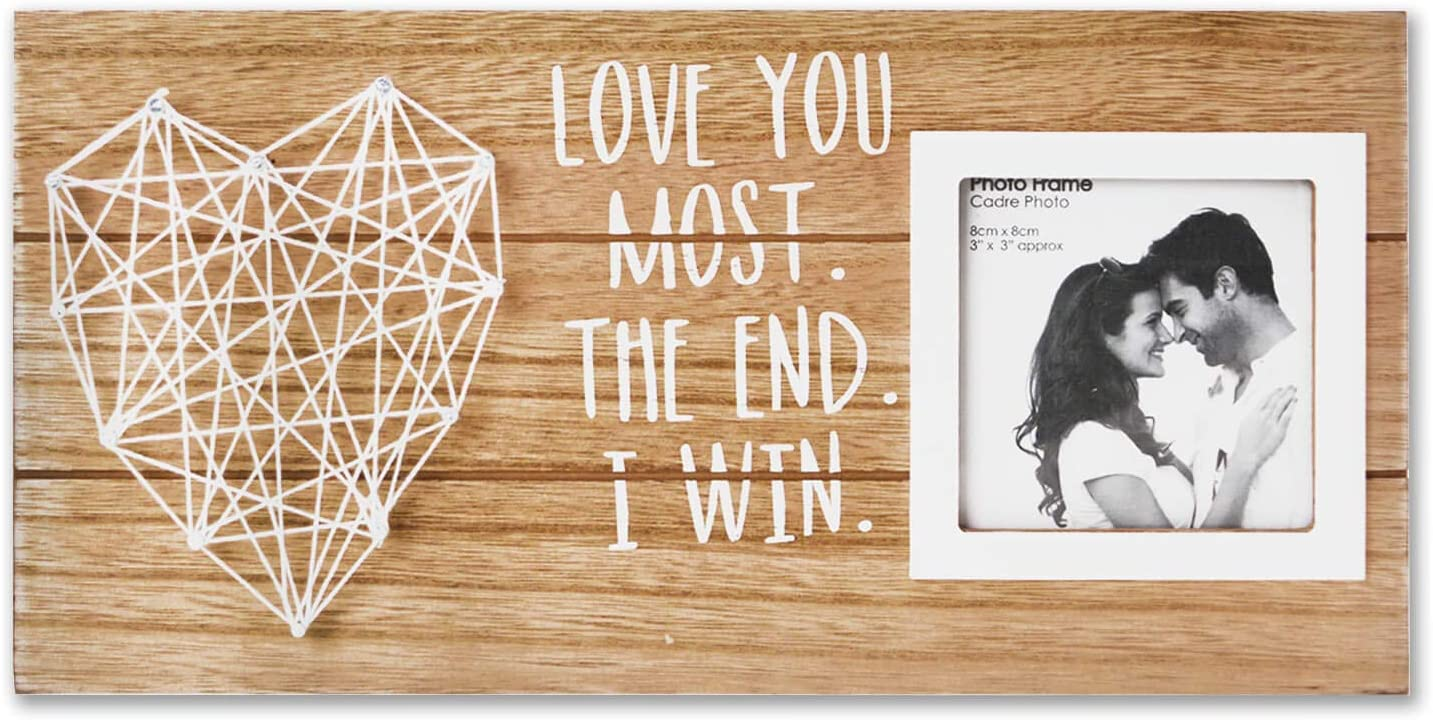 VILIGHT Boyfriend and Girlfriend Couples Romantic Picture Frame - Love You Most The End I Win Rustic Sign for 3x3 Photo