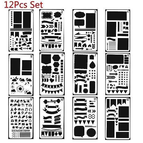 OSAYES 12pcs Bala Revista Plantillas de plástico Accesorios para Dibujar, Pintar, Pintura, Reutilizable