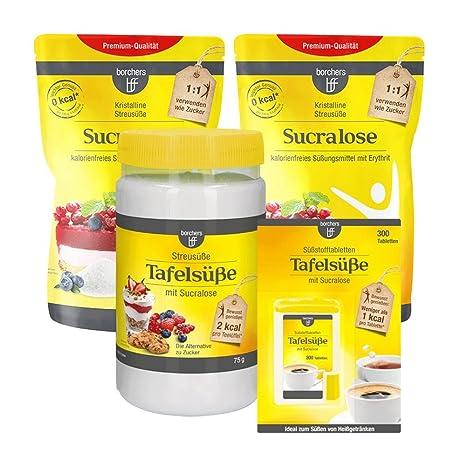 borchers Sucralose Probierpaket | 2 x Sucralosse kristalline Streusüße 300 g | 1 x Sucralose Streusüße 75 g | 1 x Sucralose S