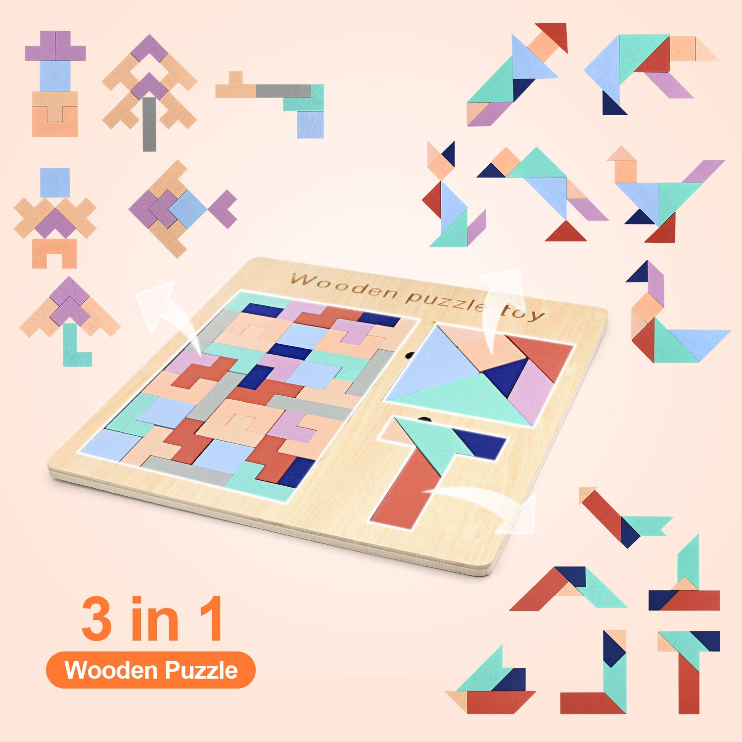 SENWOW 3 in 1 Wooden Tetris Puzzle Tangram Puzzle T Jigsaw Intelligence Puzzle Game Iq Brain Teasers Blocks Fun Children Educational Toys for Kids Adults