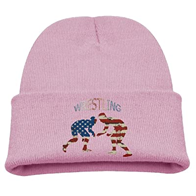 American Flag Wrestling Wrestler Retro Boys Girls Kids Cute Knit Beanies  Hats Skull Caps Warmer Black 38feb3f4985d