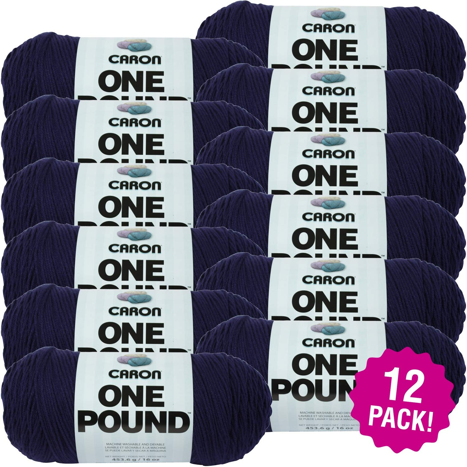 Caron 99583 One Pound Yarn-Midnight Blue, Multipack of 12, Pack