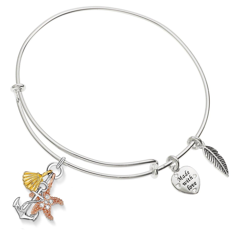 Enni Of York Nautical Anchor,Seashell,Starfish Charm Summer / Beach Expandable Ani-Silver Bangle Bracelet