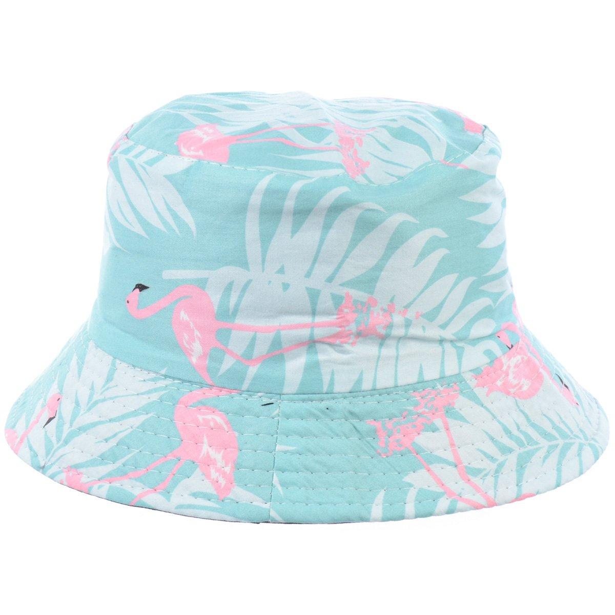 BYOS Fashion Packable Reversible Black Printed Fisherman Bucket Sun Hat, Many Patterns (Flamingo Pastel Mint)