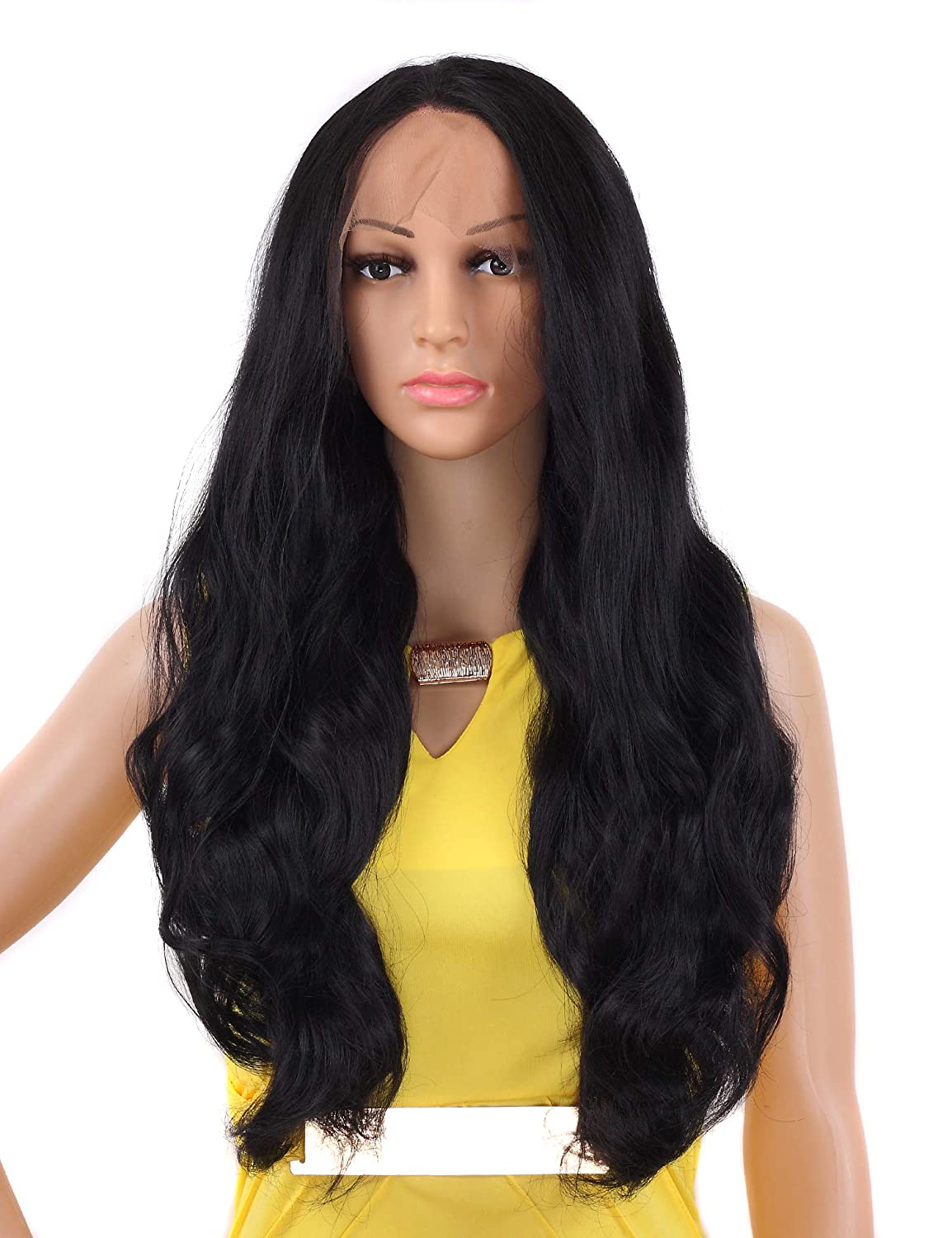 Amazon.com   Tripal Hairs Realistic Looking Long Wavy Synthetic Lace Front  Wig Natural Black Heat Resistant Wigs 1B  24 Inches   Beauty e13a1aa29dfe