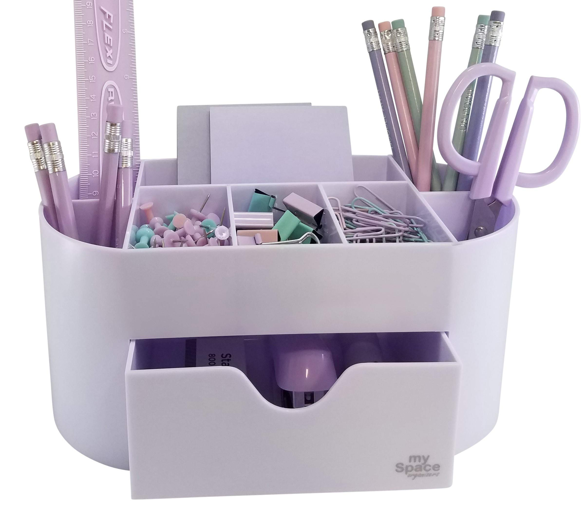 White Lavender Acrylic Desk Organizer for Office Supplies and Desk Accessories Pen Holder Office Organization Desktop Organizer for Room College Dorm Home School, Light Purple by My Space Organizers