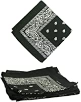 Bandanas by the Dozen (12 units per pack, 100% cotton) [Black Paisley]