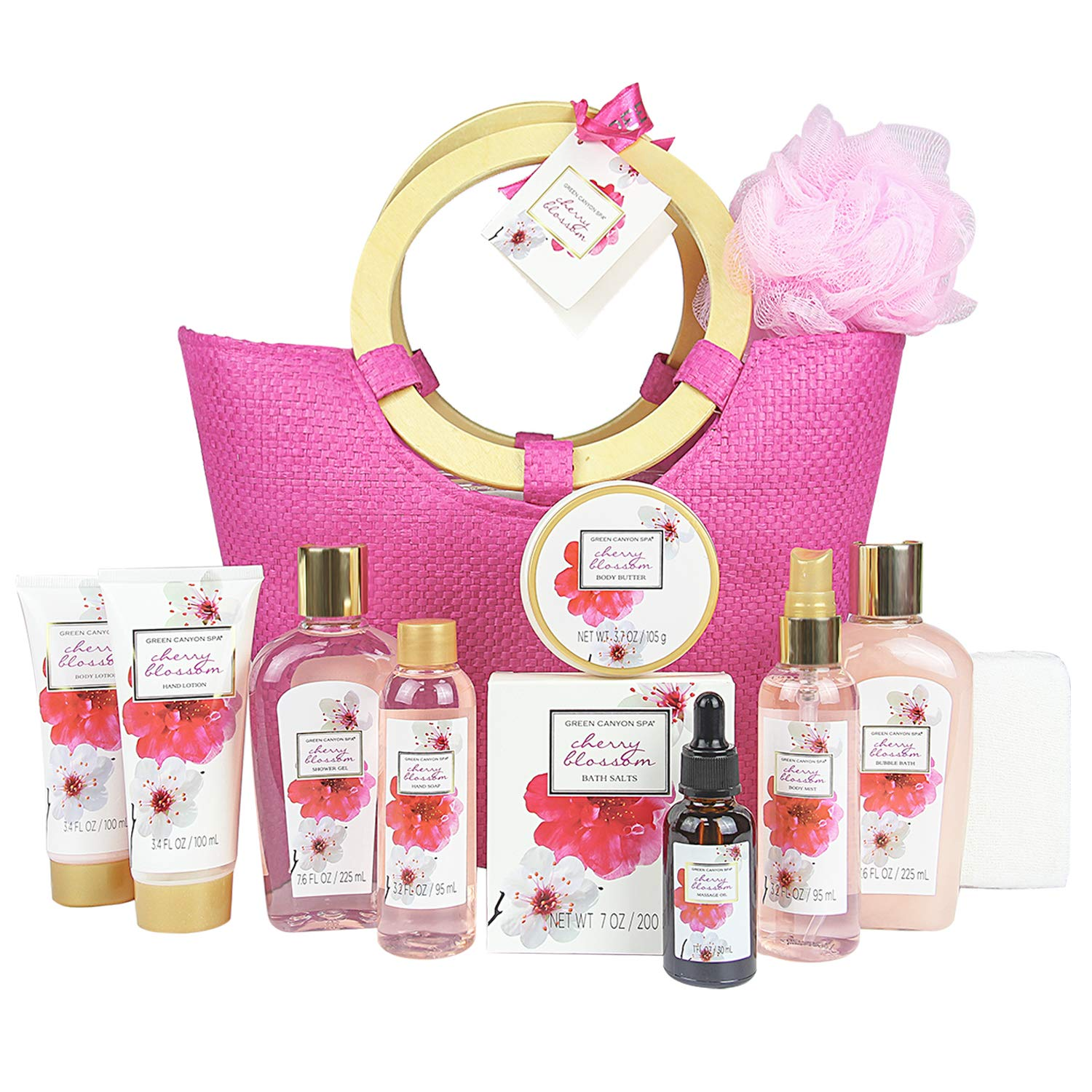 Green Canyon Spa Gift Baskets for women in Pink Tote Bag Upgraded 12 Pcs Spa Gift Sets Cherry Blossom Collective Birthday Gift for Her by Green Canyon Spa