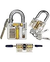 Practice Lock Set, Doinshop 3 PCs Locksmith Crystal Pin Tumbler Keyed Padlock Tools