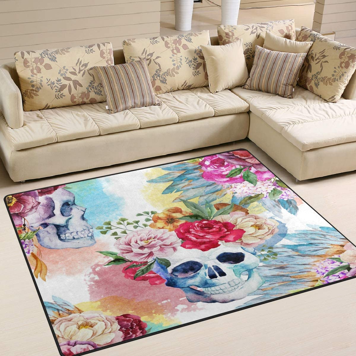 ALAZA Floral Flower Sugar Skull Watercolor Area Rug Rugs for Living Room Bedroom 7 x 5