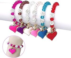 Elesa Miracle 6Pc Little Girl Teens Kids Heart Pendant Crystal Beaded Bracelet Value Set Kids Girl Party Favor Pretend Play Bracelet, Multicolor