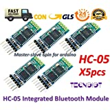 5pcs HC-05 Integrated Bluetooth Module Wireless Serial Port Module HC05 | 5 pz HC-05 Wireless Bluetooth Transceiver Seriale Modulo 6 Pin Master-Slave Bluetooth Extender Plate per Arduino e Genuine