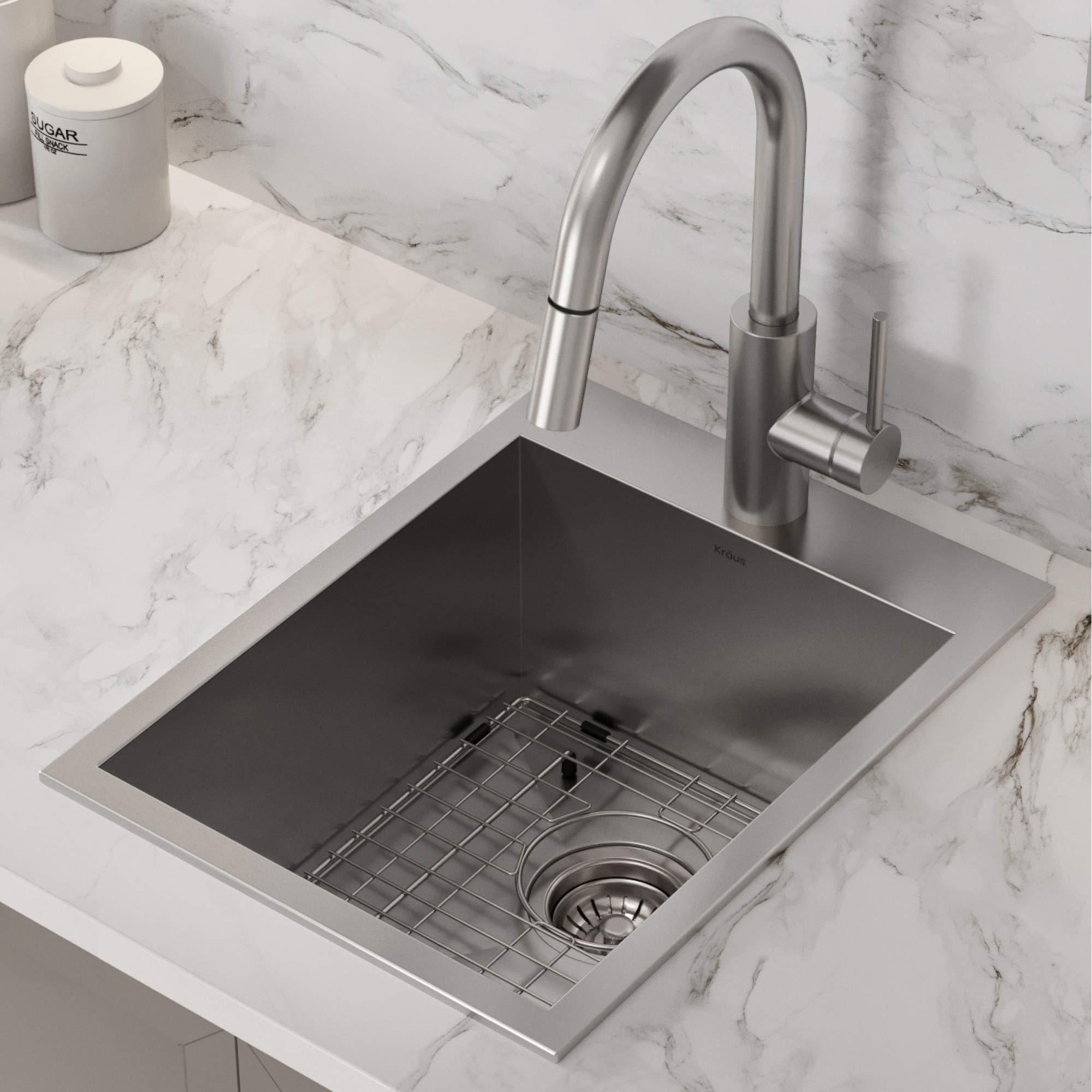 Kraus KP1TS15S-1 Pax Kitchen Sink, 15'' x 20'' x 9'' 1 Hole