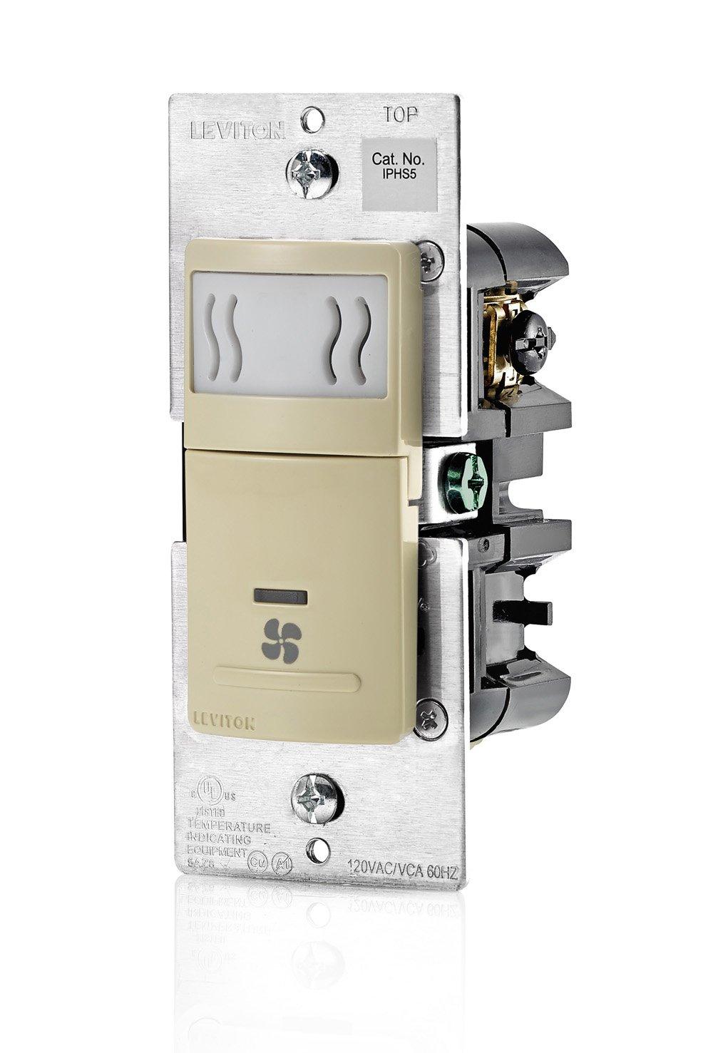 Leviton IPHS5-1LI Decora In-Wall Humidity Sensor /& Fan Control 3A Single Pole Ivory