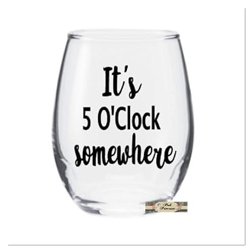 28b7a61025b Amazon.com: Wine Glass, It's 5'O Clock Somewhere Stemless Wine Glass ...