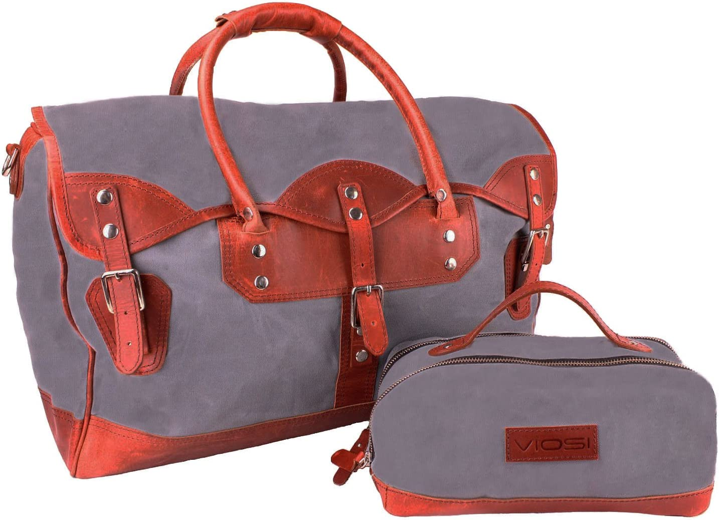 Leather Duffel Bag Waxed Canvas Weekender Travel Bag with Matching Toiletry Bag
