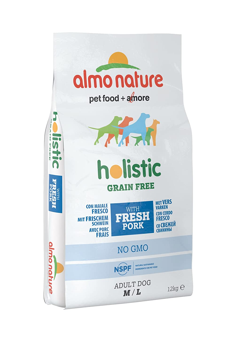 Almo Nature Holistic Grain Free Pork and Potatoes for Dogs, Medium Large, 12 kg