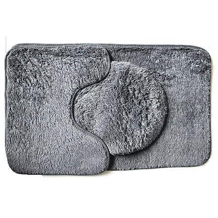 mymotto New Bathroom Solid Tappetino da Bagno Tappetino da Bagno Set da 3 Pezzi Assorbimento dAcqua Antiscivolo Tappeti