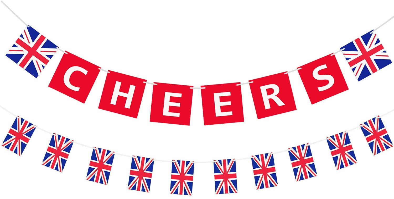 2 Pieces British Party Garland Cheers British Banner Garland UK Flag Pennant Banner for Party Hanging Decoration
