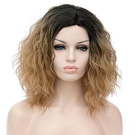 ATAYOU® Short Curly Ombre Sintético Cosplay Bob Pelucas con Raíces Oscuras Para  Mujer Disfraz con 32bfc1e7ffbb