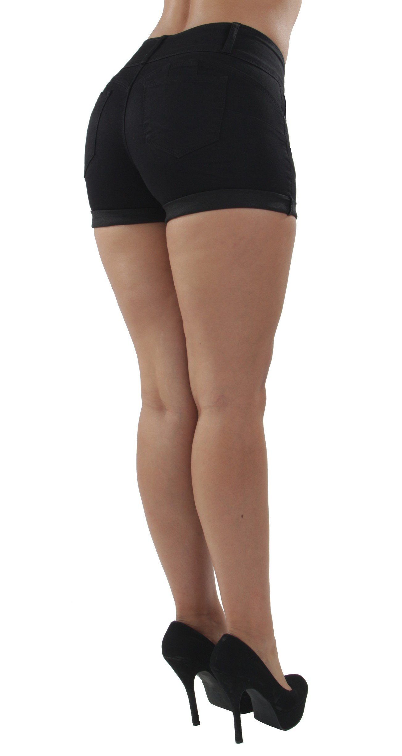Fashion2Love 90099XL(SH) - Plus Size, Colombian Design, Mid Waist, Butt Lift, Booty Shorts in Black Size 1XL by Fashion2Love (Image #5)