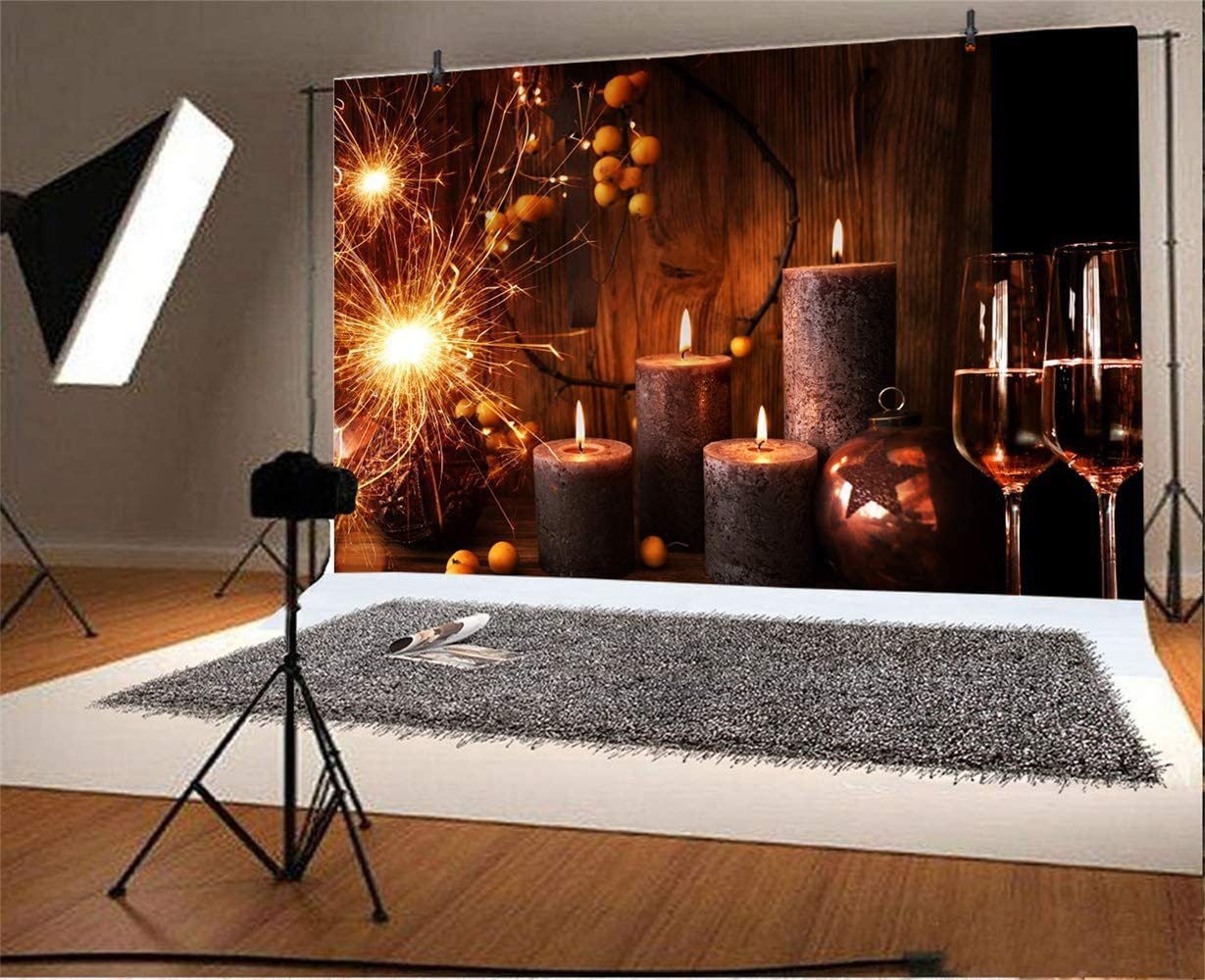 Christmas New Year Backdrop Vinyl 10x7ft Candlelight Dinner Scene Burning Candles Champagne Sparkling Fireworks Ball Decoration Photo Background Xmas Eve New Year Party Banner Greeting Card