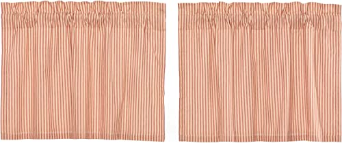 VHC Brands Farmhouse Kitchen Sawyer Mill Ticking Rod Pocket Cotton Hanging Loops Striped 24×36 Curtain, Tier Set, Red