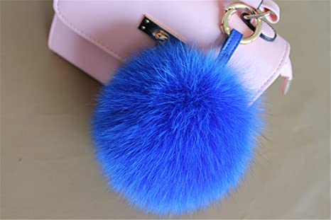 e4e359328a47 Image Unavailable. Image not available for. Color  HEARTFEEL Real Fox Fur  Pom Pom Ball Keyring Mobile Phone Pendant Bag Purse ...