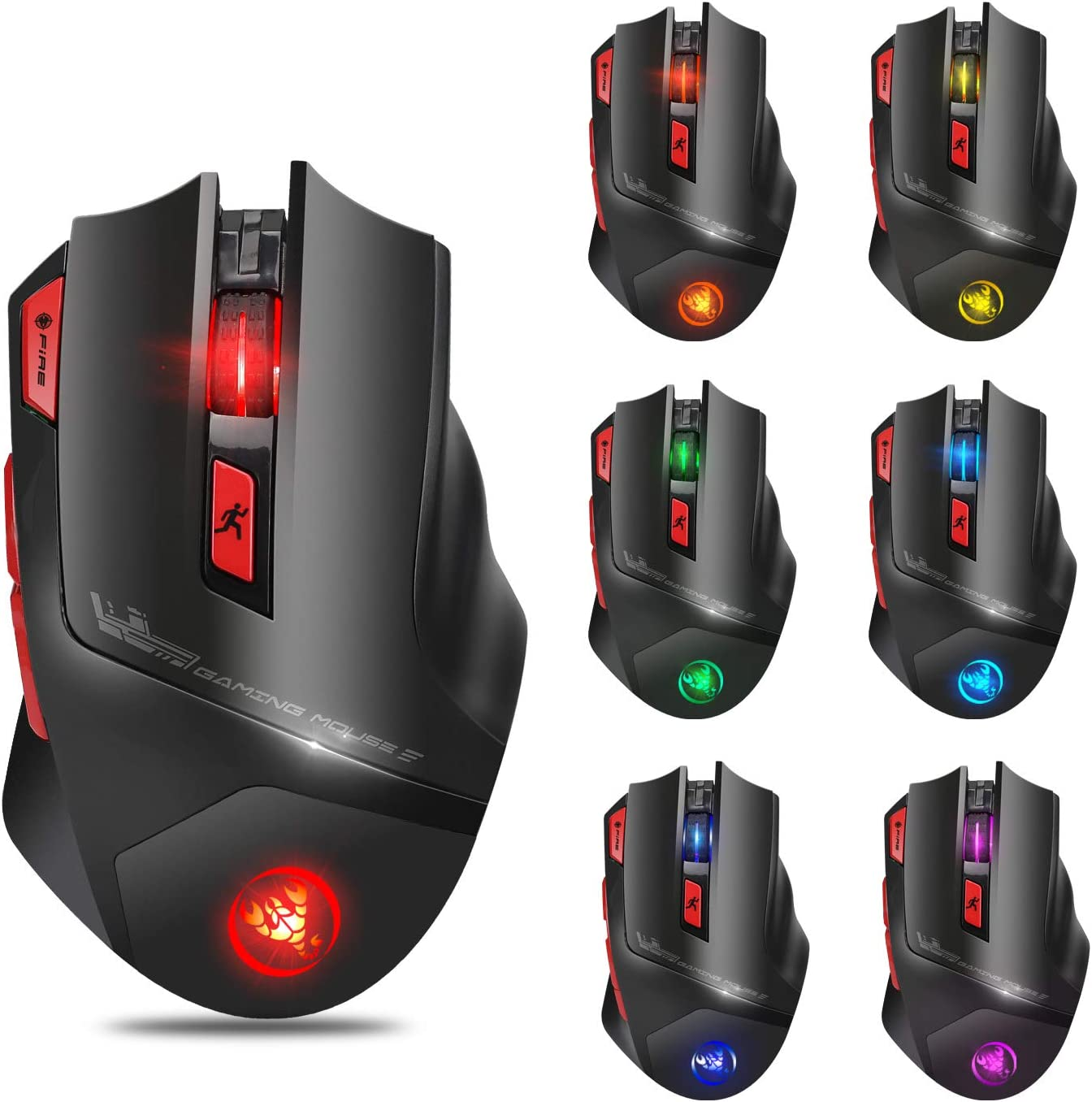 Wireless Mouse Charging Mouse Gaming Mouse Colorful Backlight Design Adjustable 4800DPI