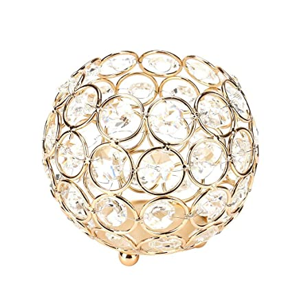 Wondrous Amazon Com Micozy Gold Crystal Bowl Candle Holders Interior Design Ideas Inesswwsoteloinfo