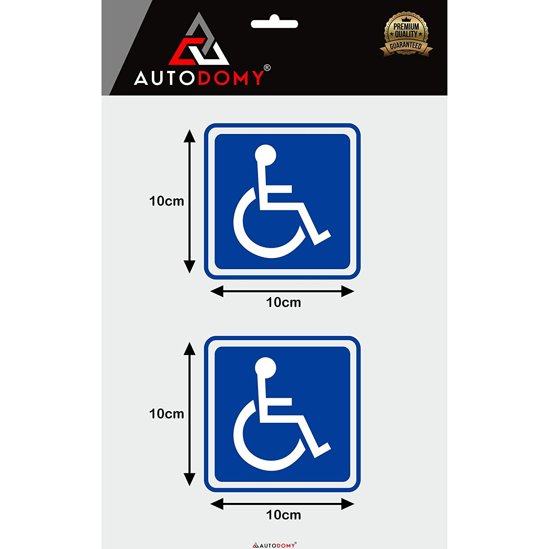 Autodomy Autocollants Handicap/é Pack de 2 unit/és pour usage Interne Voiture Fourgonnette Camion