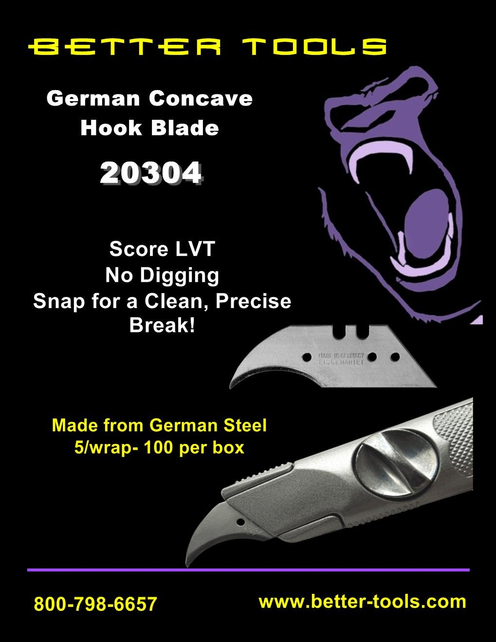 Better Tools - 2-Notch German Concave Hook Blade (100/box)