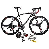 Eurobike XC550 Road Bike 21 Speed 49 cm Frame 700C K Wheels Road Bicycle Dual Disc Brake Bicycle Black White