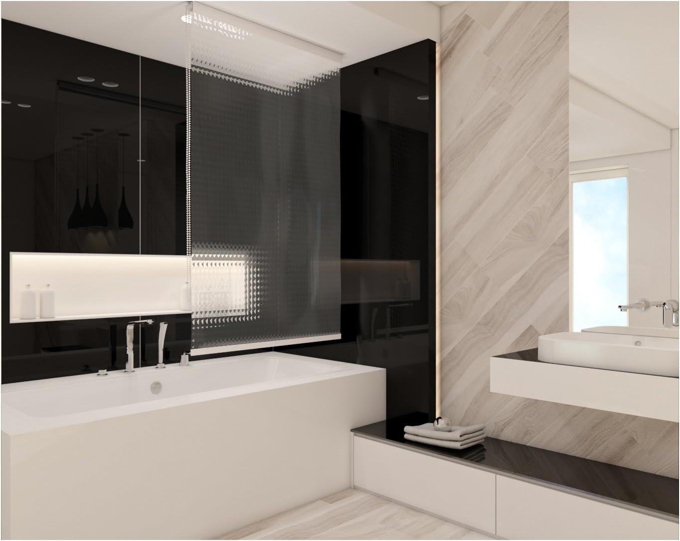 Estor de ducha (60 cm de ancho 3d aspecto mosaico transparente – Cortina de ducha (60 x 240 cm. Shower Estor Curtain: Amazon.es: Hogar