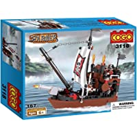 Webby Sea Rover Pirate Ship Building Blocks , Multi Color (167 Count)