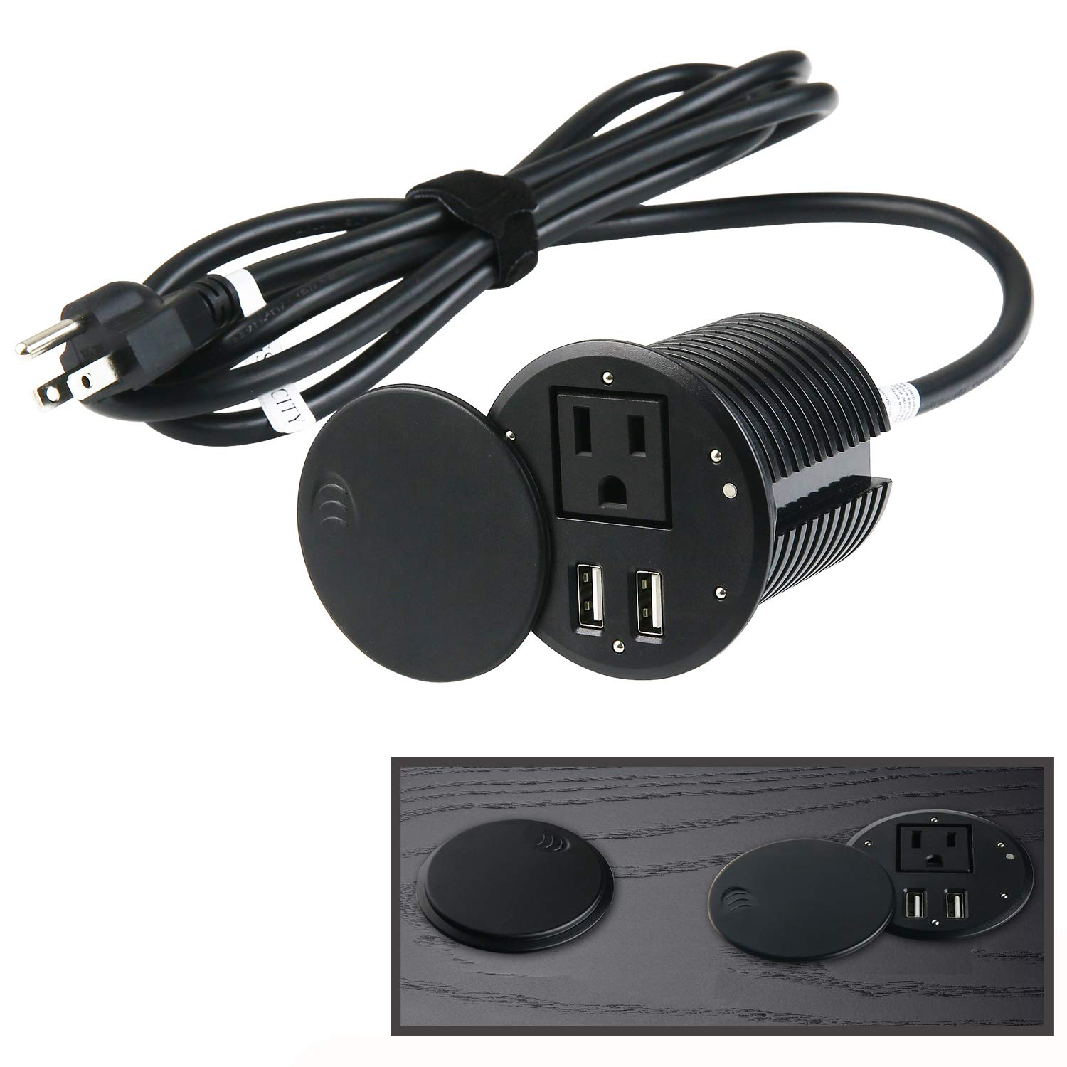 Desktop Power Grommet with Swing Open Cover. Desk Grommet Outlet 2.35inch Hole,Power Grommet with USB, Easy Access to 1 Power Source Along with 2 USB Power Port Connections