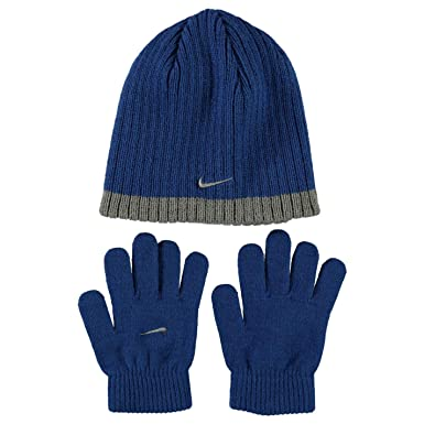 a9ff20d784d Nike Juniors Ribbed Beanie Hat and Glove Set Fits Six to Thirteen Years of  Age Blue Grey  Amazon.co.uk  Clothing