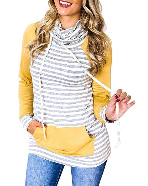 Tomwell Otoño Invierno Mujer Moda Rayas Suelto Sudadera con Capucha Manga Larga Pullover Cuello Alto Blusa