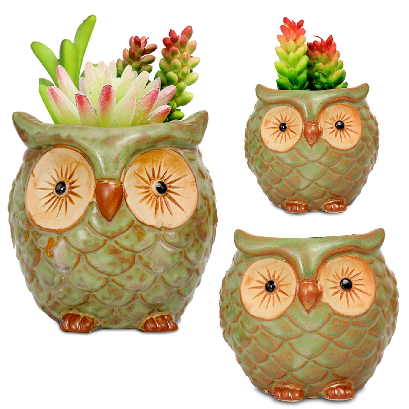 ROSE CREATE 3pcs 3in / 4in / 4.5in Owl Flower Pots by ROSE CREATE (Image #1)