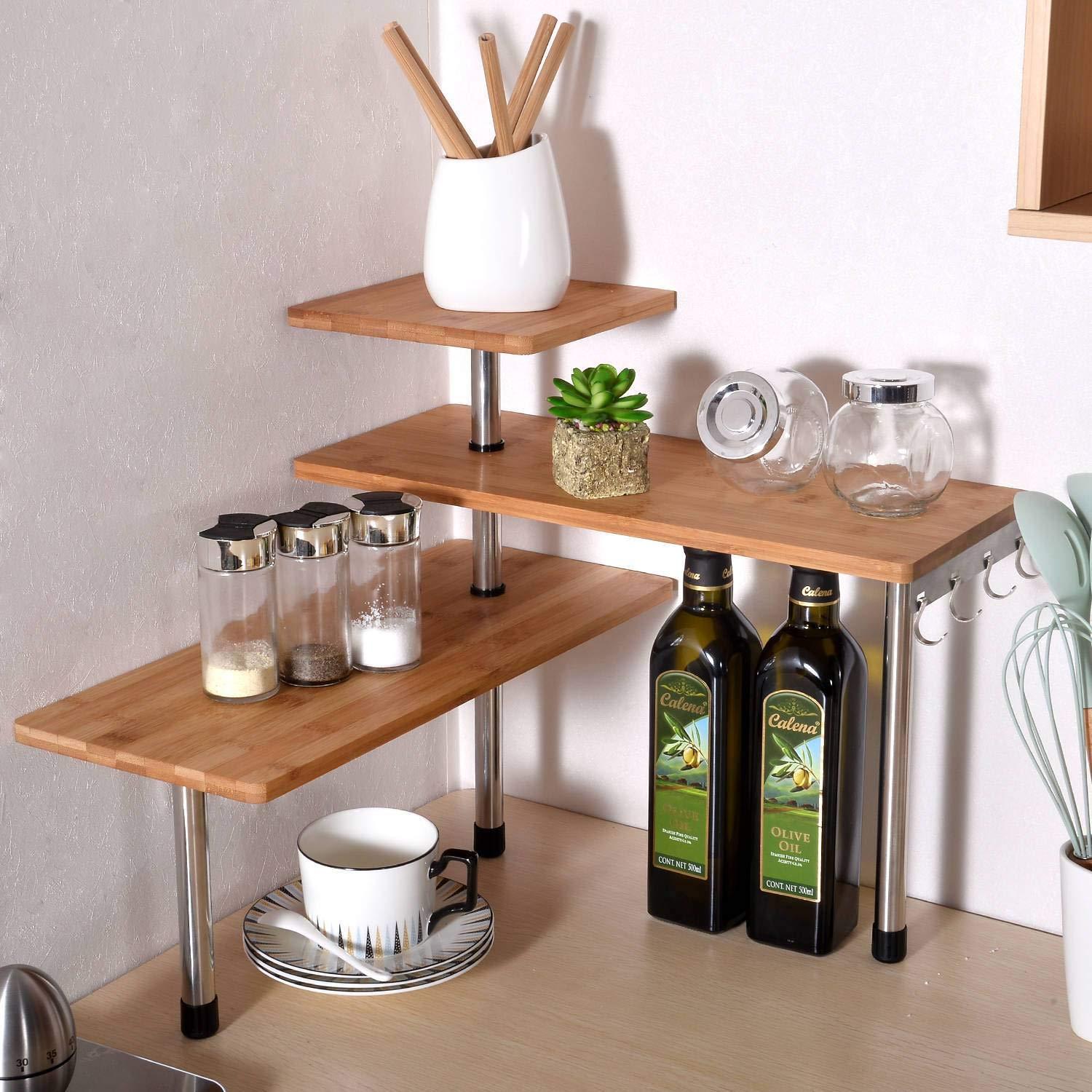 Ollieroo 3 Tier Corner Shelf Bamboo Spice Rack Desk Bookshelf Display  Shelves Space Saving Organizer for Living Room, Kitchen, Office (with hooks)