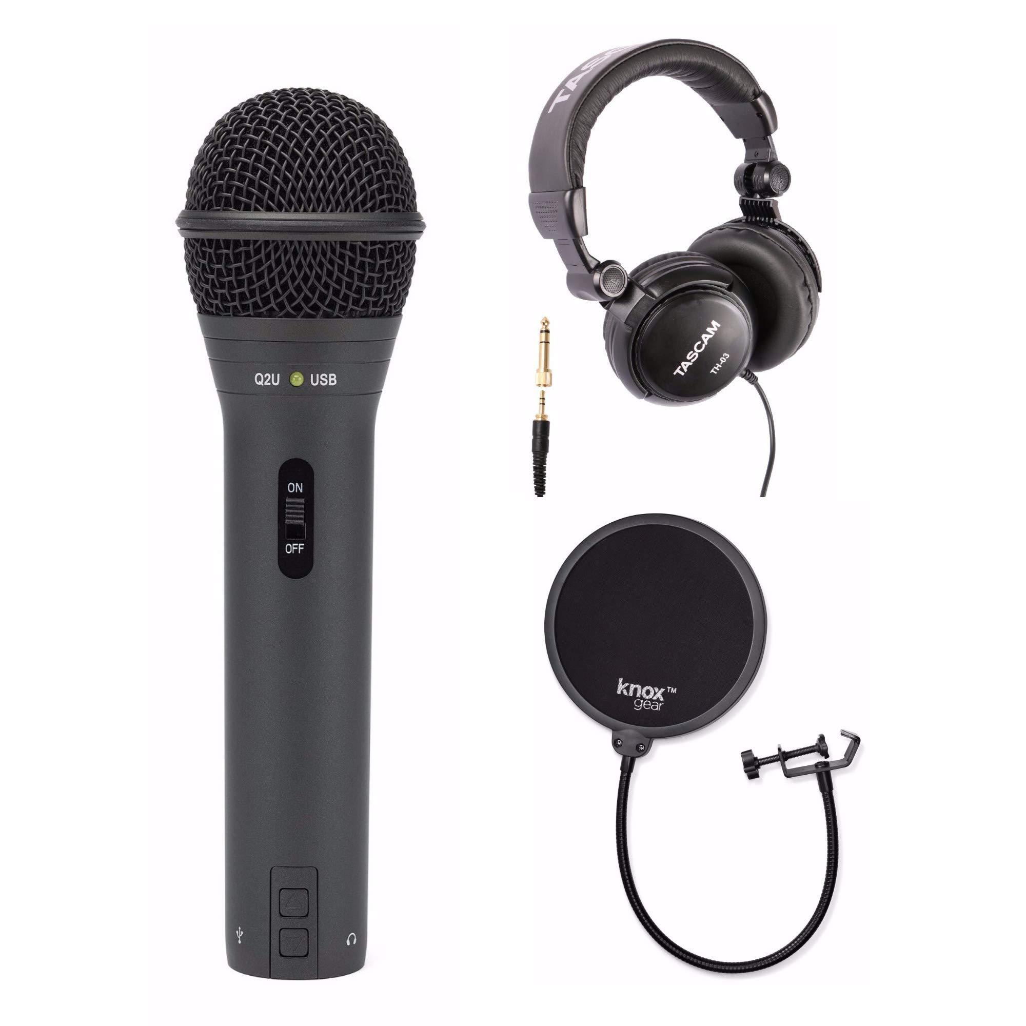 Samson Q2U Black Handheld Dynamic USB Microphone with Knox Pop Filter & Full Size Headphones by Samson Technologies