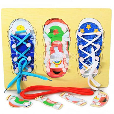 Amazoncom Wooden Tie Shoe Lacing Threading Matching Puzzle